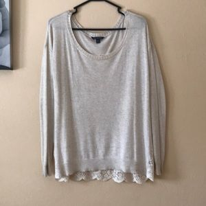 Cream Lace Back Sweater